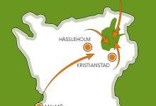 Karta över Skåne med Östra Göinge markerat