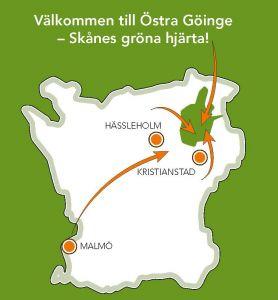 Karta över Skåne med Östra Göinge markerat. Illustration.