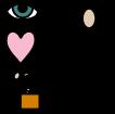 Symboler för intryck, öga - syn och hjärta - känslor. Illustration.