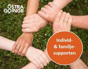 Händer som håller fast i varandra så att det bildar en ring av händer. Text i bild säger Individ- och familjesupporten.