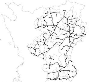 Karta över Skåne med utbyggt fibernät.
