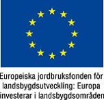EU-logo med texten Europeiska jordbruksfonden för landsbygsutveckling, Europa investerar i landsbygdsområden.