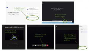 Illustration över hur man gör för att ansluta till ett möte via Microsoft Teams.