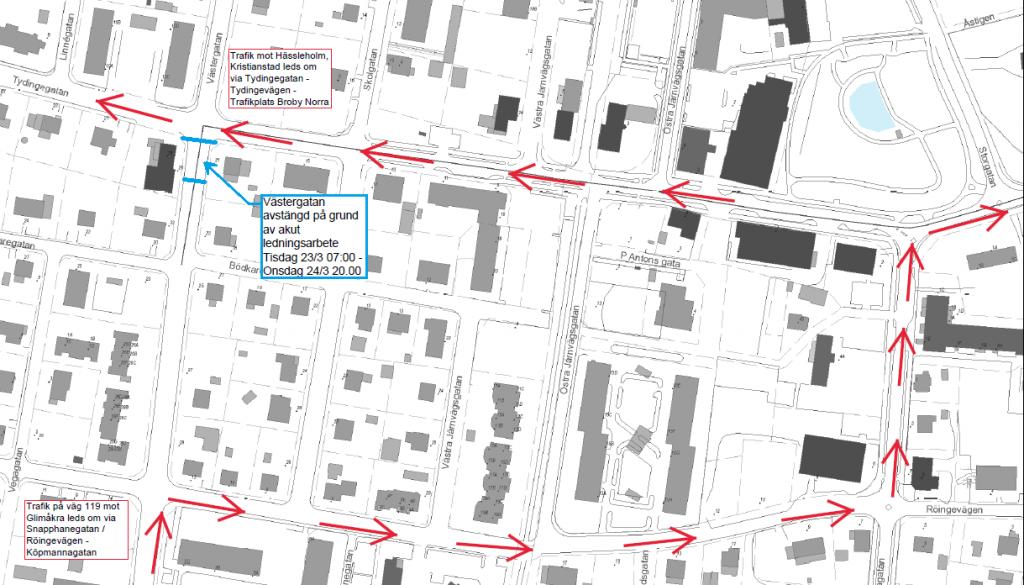 Bild på karta över del av Broby där man ser vilken del av Västergatan som stängs av och hur trafiken leds om under tiden.