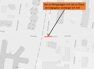 Kartbild med korsningen Röingevägen-östra Järnvägsgatan markerad.