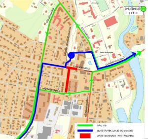 Kartbild som visar var Tydingetatan stängs av samt hur trafiken leds om.